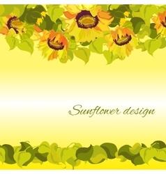 Sunflower yellow border horisontal gesign vector