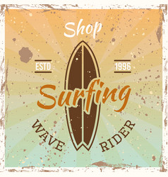 surfing colored vintage emblem with surfboard vector image