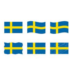 sweden flag set official vector image