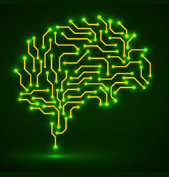Technological neon brain circuit board vector