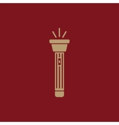 The flashlight icon Torch symbol Flat vector image
