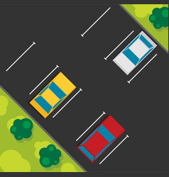 top view of a car parked flat vector image