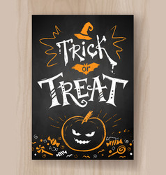 Trick or treat postcard chalked design vector