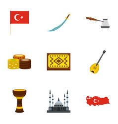Turkey travel icons set flat style vector