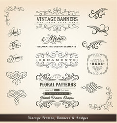 Vintage calligraphic design banners vector