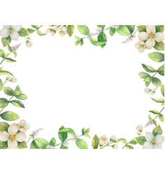 Watercolor frame of flowers and branches vector