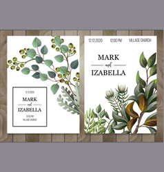 Wedding invitation with leaves succulent vector