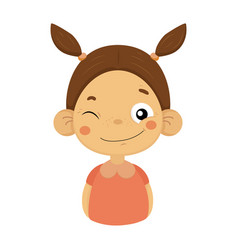Winking and smiling little girl flat cartoon vector