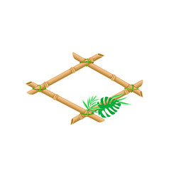 wooden frame made of bamboo sticks with palm leaf vector image