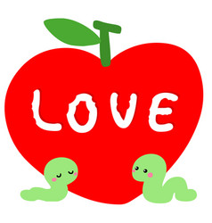 worm in love with red apple vector image