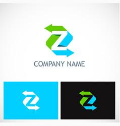 arrow letter z colored logo vector image