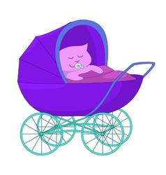 Baby cartoon in the baby carriage vector image