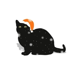 Black cat in a red hat vector image vector image