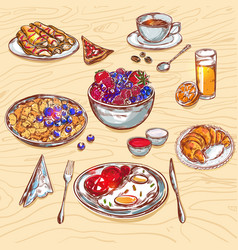 food breakfast view icon set vector image vector image