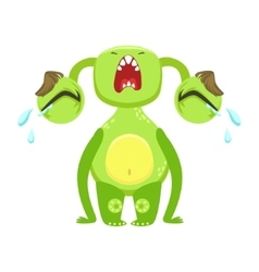 Funny Monster Crying Out Loud Green Alien Emoji vector image vector image