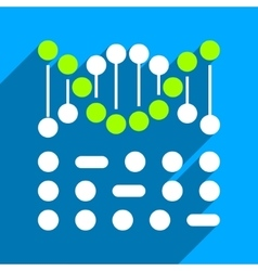 Genetic Code Flat Square Icon with Long Shadow vector image
