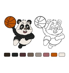 Little panda is playing basketball vector image vector image