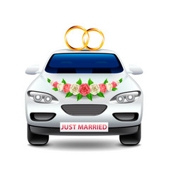 wedding car just married isolated on white vector image