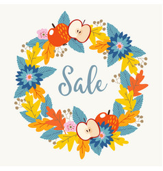 autumn fall sale poster with hand drawn floral vector image vector image