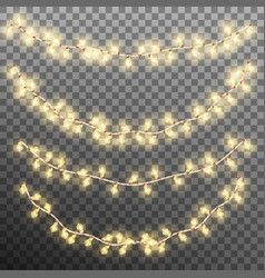 christmas garland lights isolated on transparent vector image