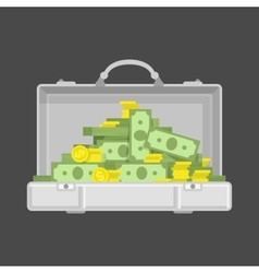 Chrome suitcase with money vector image