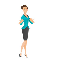 confused business woman shrugging shoulders vector image vector image
