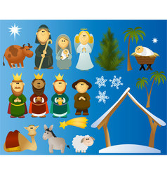 Set of Christmas scene elements vector image