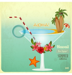 Summer Cocktail Card in retro Style vector image