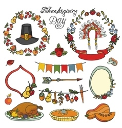 Thanksgiving dayDoodle setColorful collection vector image vector image