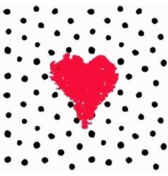 Valentine hand drawn card polka dots vector image vector image