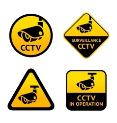 Video surveillance set signs vector image