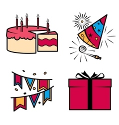 Birthday party celebration icons set vector image vector image