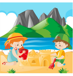 boy and girl playing sand on the beach vector image