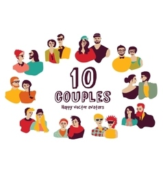 Family couples avatars people faces color set vector image