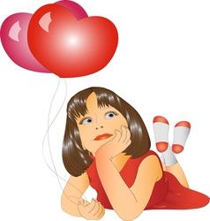 Girl and two balloons vector image