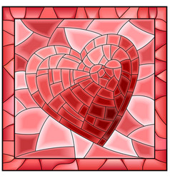 heart stained glass window with frame vector image vector image
