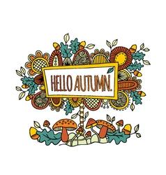 Hello Autumn Hand Drawn Doodle Bright vector image