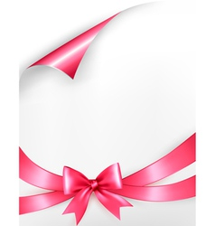 Holiday background with pink gift bow and ribbons vector image vector image