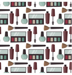 makeup perfume mascara care brushes seamless vector image