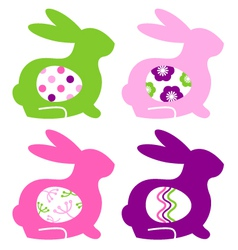 Abstract colorful bunnies with eggs set vector image