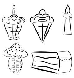 Cartoon set of cakes eps10 vector image