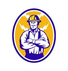 Electrician Construction Worker Lightning Bolt vector image vector image