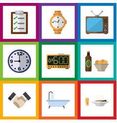 flat icon lifestyle set of timer watch tub and vector image vector image