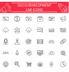 seo and development line icon set vector image vector image