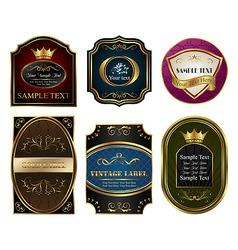set colored gold framed labels vector image vector image