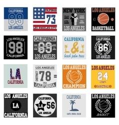 T-shirt graphic design Los Angeles set vector image vector image