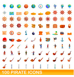 100 pirate icons set cartoon style vector
