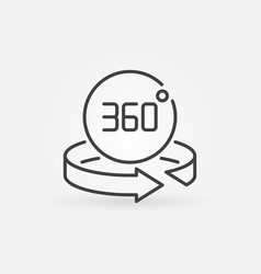 360 degree arrow with circle outline vector