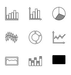 9 diagram icons vector image