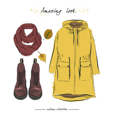 A set of autumn outfit with accessories parka vector